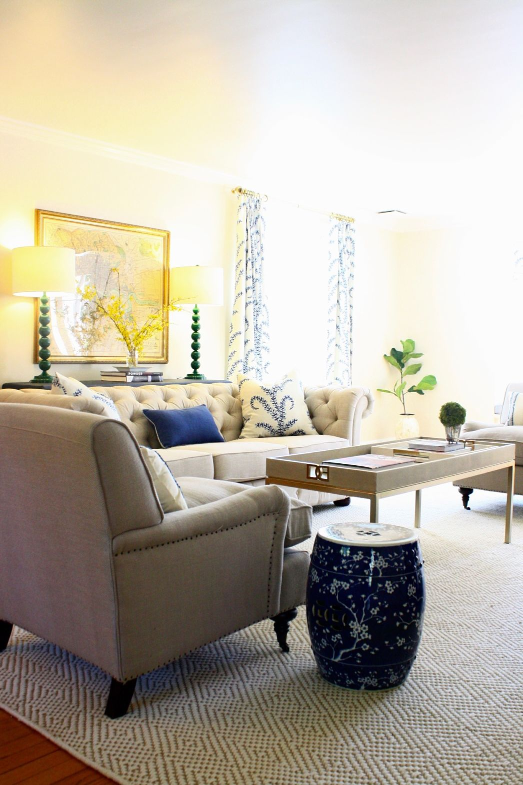 Cream Blue And Green Living Room | www.elderbranch.com